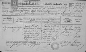 certificato di nascita di freud