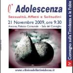 21 Novembre 2009 Ancona – Convegno: Adolescenza: sessualità, affetti e solitudini