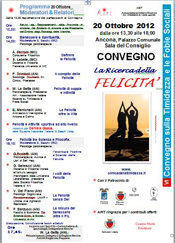 Convegno LA RICERCA DELLA FELICITA' Ancona 20 Ottobre 2012